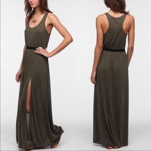 Silence+Noise•Olive Green•Double Slit Maxi Dress
